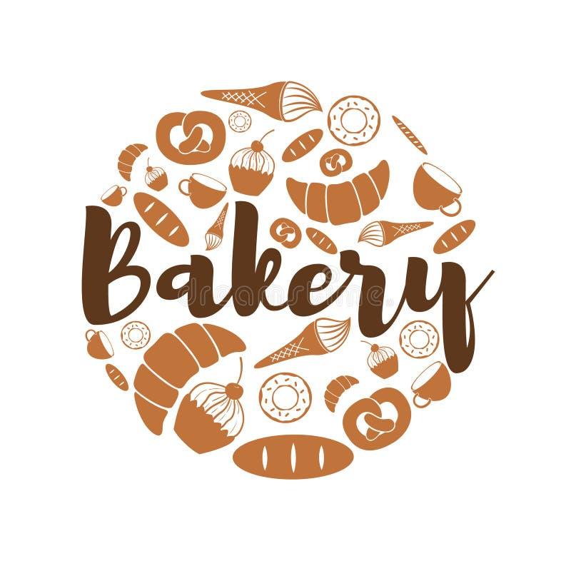 Satz Bäckerei- und Bonbonikonenikonen lizenzfreie abbildung