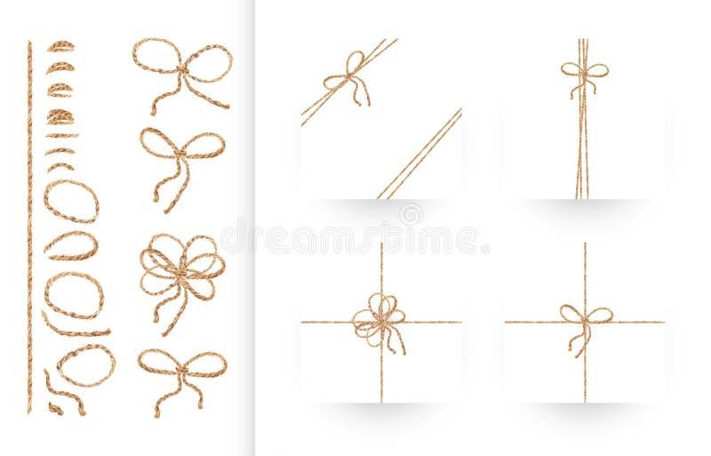 Satz Bänder, Bögen mit Seil und Schnüre lizenzfreie abbildung