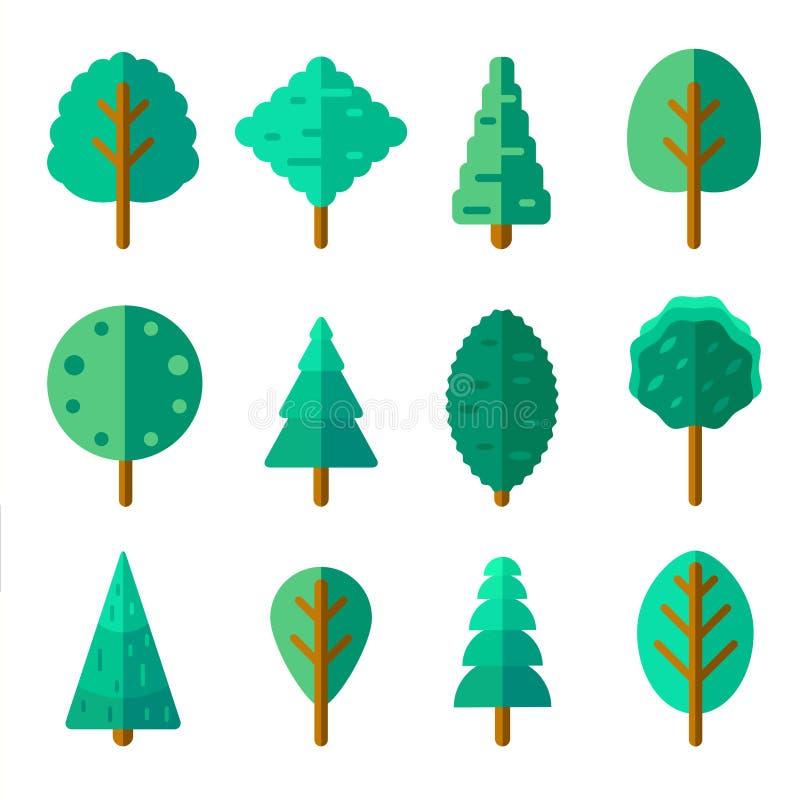 Satz Bäume in der modischen flachen Art Grüne Laubwaldelemente lizenzfreie abbildung