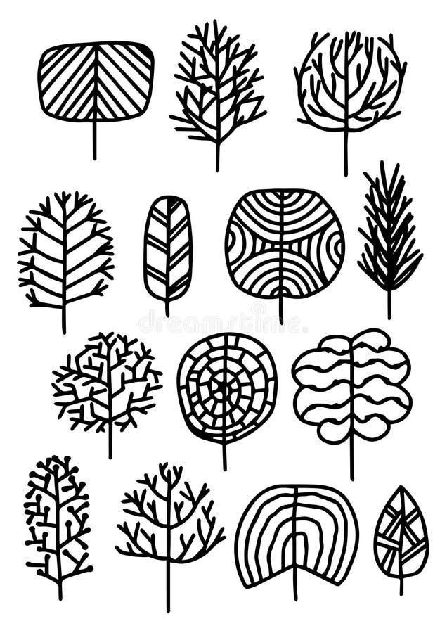 Satz Bäume in einer Skizzenart Auch im corel abgehobenen Betrag stockbilder