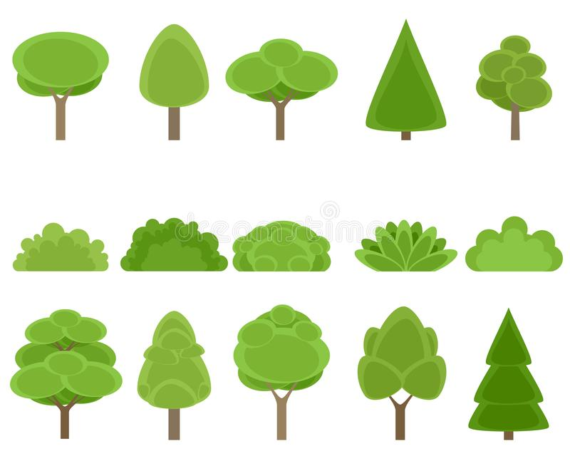 Satz Bäume und Sträuche stockfotos
