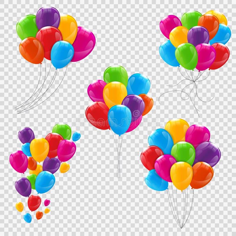 Satz, Bündel und Gruppen Farbder glatten Helium-Ballone lizenzfreie abbildung