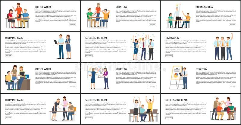 Satz Büro-Arbeits-Strategie-Teamwork-helle Karten lizenzfreie abbildung
