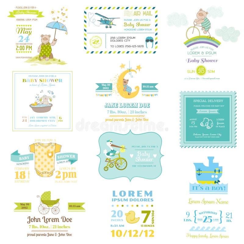 Satz Babyparty-und Ankunfts-Karten stock abbildung