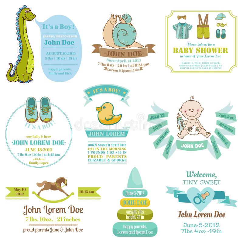 Satz Babyparty-und Ankunfts-Karten - mit Platz für Ihren Text stock abbildung