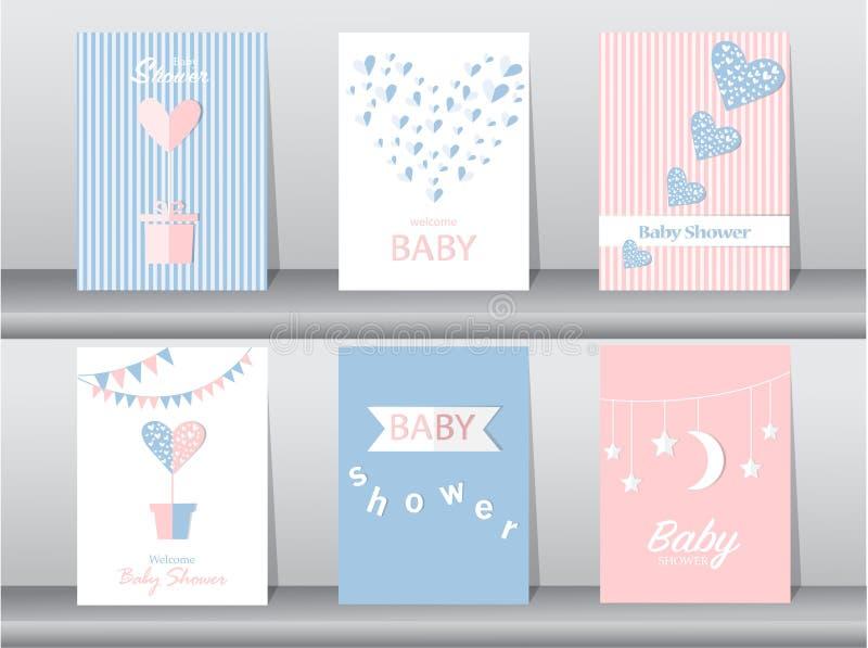 Satz Babypartyeinladungskarten, Plakat, Gruß, Schablone, Herzen, Vektorillustrationen stock abbildung