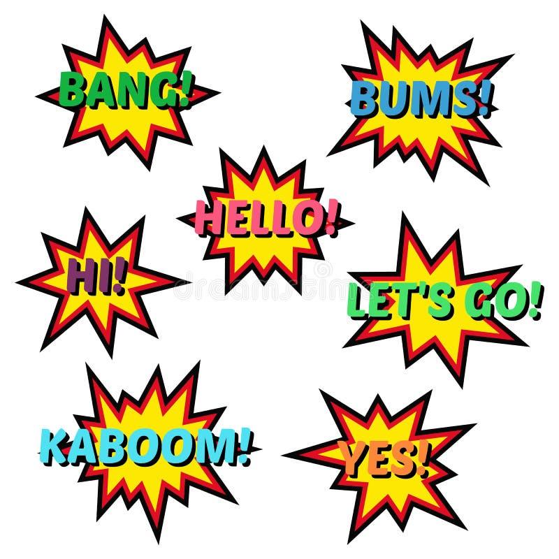 Satz Ballonspracheblasen der Karikatur komische Elemente von Pop-Arten-Retrostil-Designcomic-büchern vektor abbildung