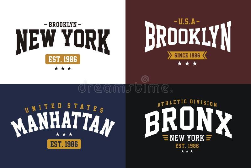 Satz beschriftet Uniart, Typografie athletischen Sports New York Brooklyn für T-Shirt Druck vektor abbildung
