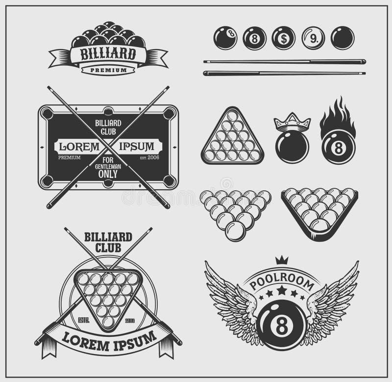 Satz Billardaufkleber, -embleme und -Gestaltungselemente lizenzfreie abbildung