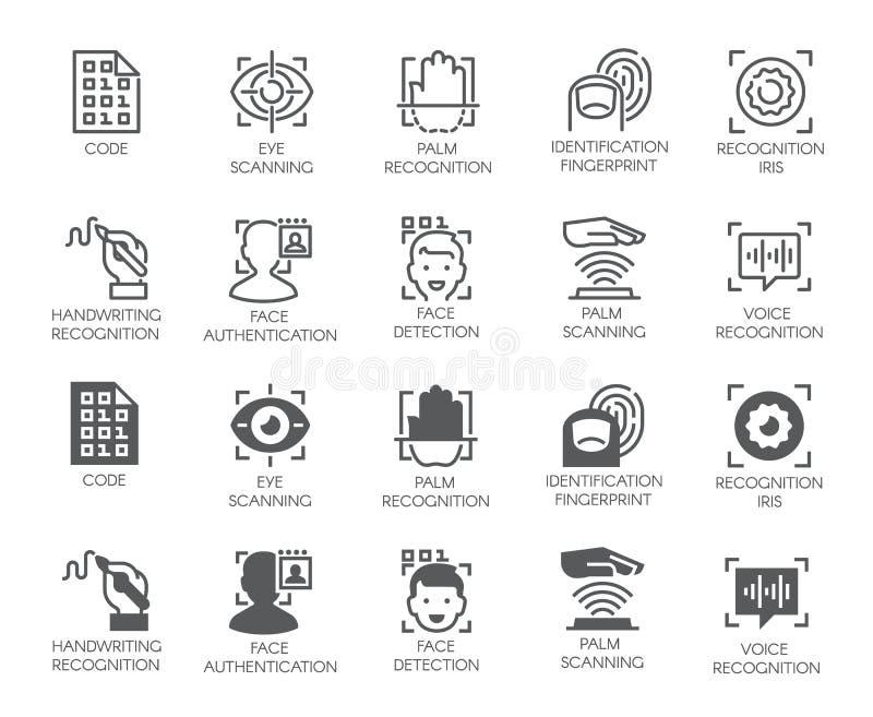 Satz biometrische Knöpfe 10 Ikonen in den linearen und Glyphdesignen Ermächtigungs-, Identifizierungs- und Überprüfungssymbole vektor abbildung
