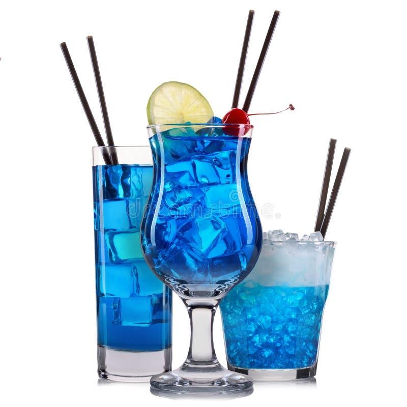 Download Satz Blaue Cocktails Mit Dekoration Von Den Früchten Und Von  Buntem Stroh Lokalisiert Auf Weißem