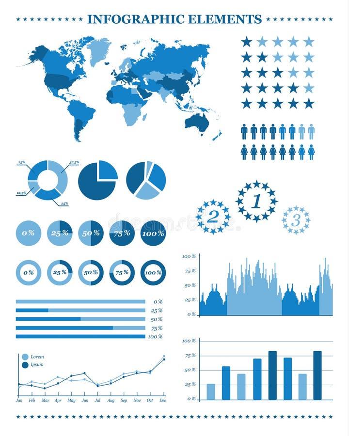 Satz blaue infographic Elemente, demographisch und geographisch lizenzfreie abbildung