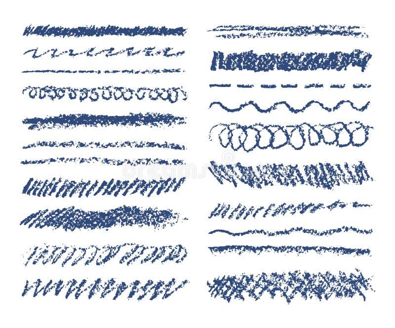 Satz blaue Wachszeichenstiftanschläge auf Weiß Hand gezeichnete Pastellkreidemarkierung streift Hintergrund stockbild