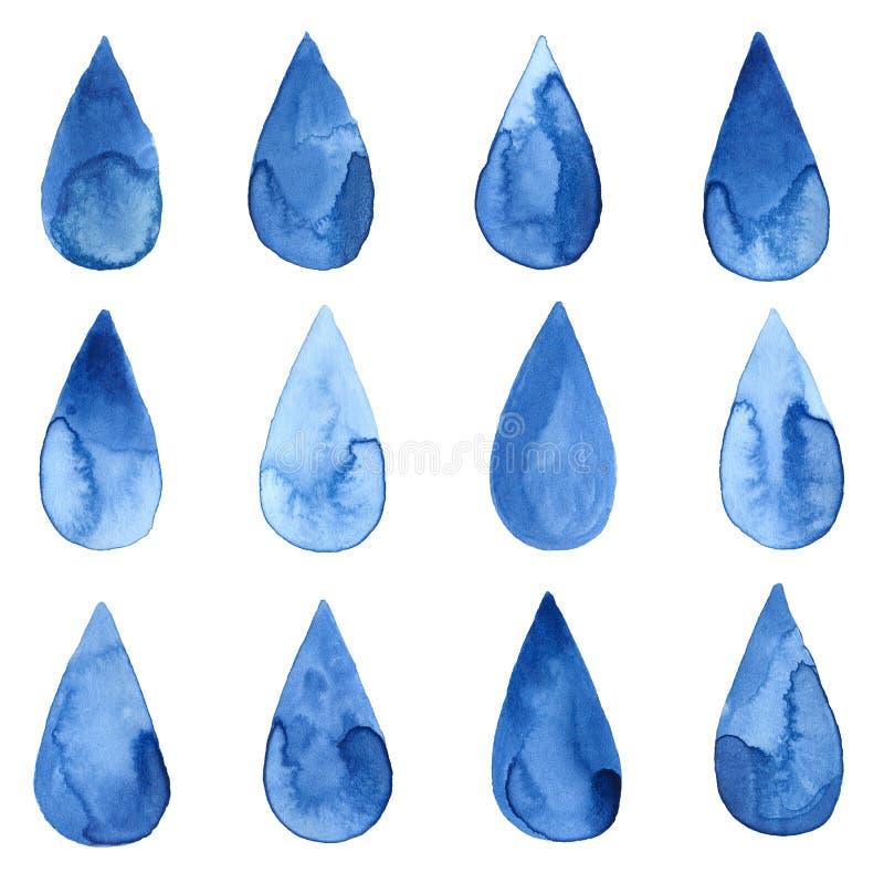 Satz blaue Watercolourtropfen stock abbildung