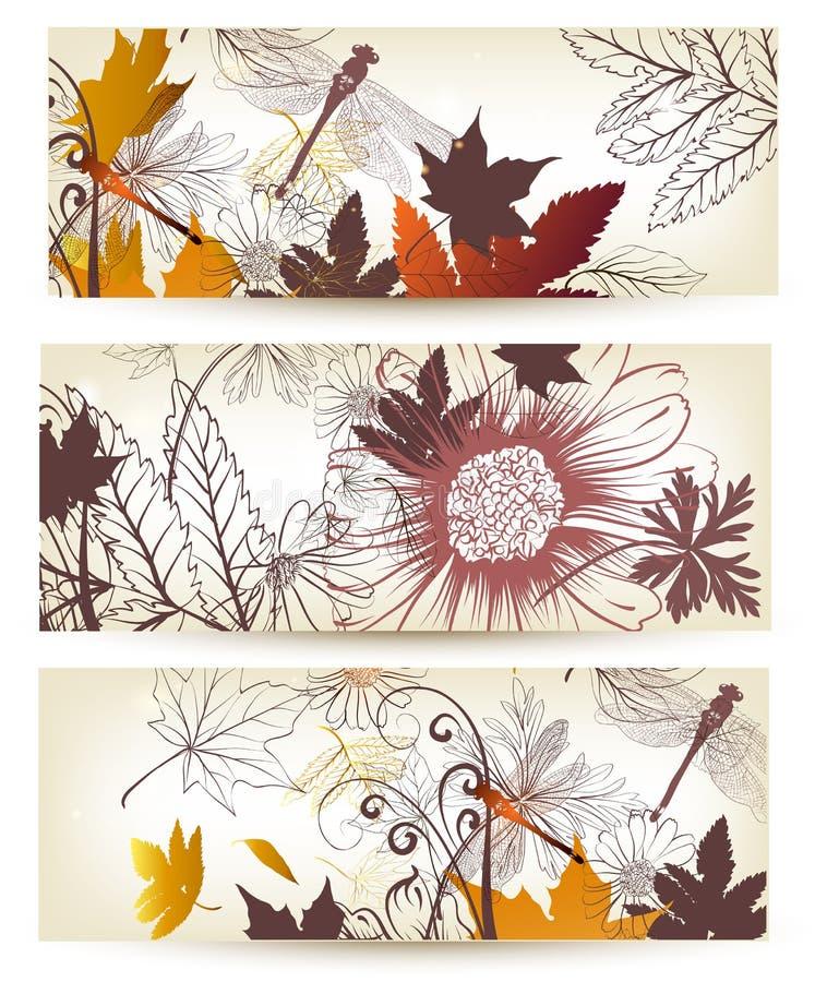 Blumenhintergründe eingestellt vektor abbildung
