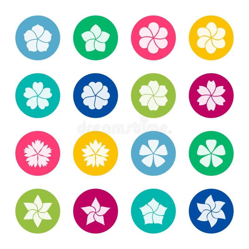 Satz Blumenikonen auf Farbhintergrund, Illustration vektor abbildung