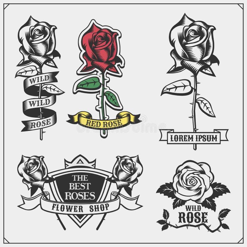Satz Blumenladenembleme, -logos, -ausweise, -aufkleber und -Gestaltungselemente vektor abbildung
