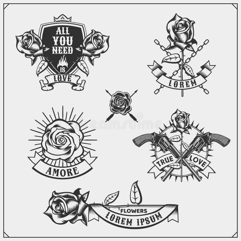 Satz Blumenladenembleme, -logos, -ausweise, -aufkleber und -Gestaltungselemente stock abbildung