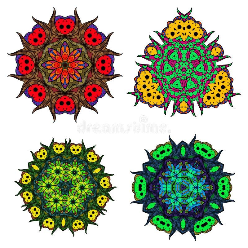 Satz Blumenmandalen/runde Verzierung der Zusammenfassung/Vektormandala stellen ein,/Mandaladesign stock abbildung