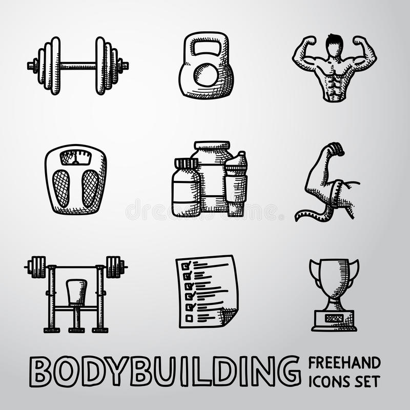 Satz bodybuildende freihändige Ikonen mit - Dummkopf vektor abbildung