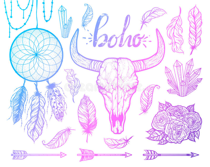 Satz boho Elemente Stammes- Art der Stier-Schädelamerikanischen ureinwohner Tätowierung blackwork Vektorhand gezeichnete Abbildun stock abbildung