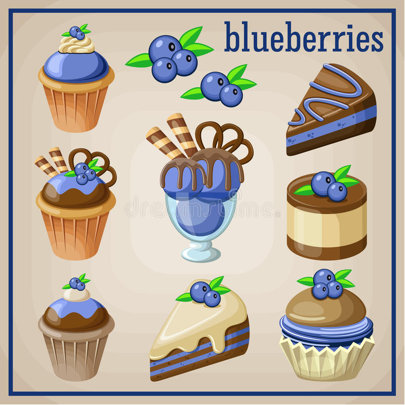 Satz Bonbons mit Blaubeeren vektor abbildung