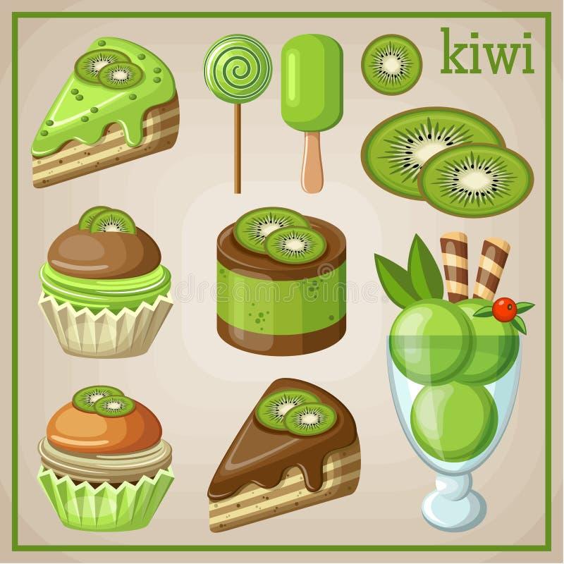 Satz Bonbons mit Kiwi vektor abbildung