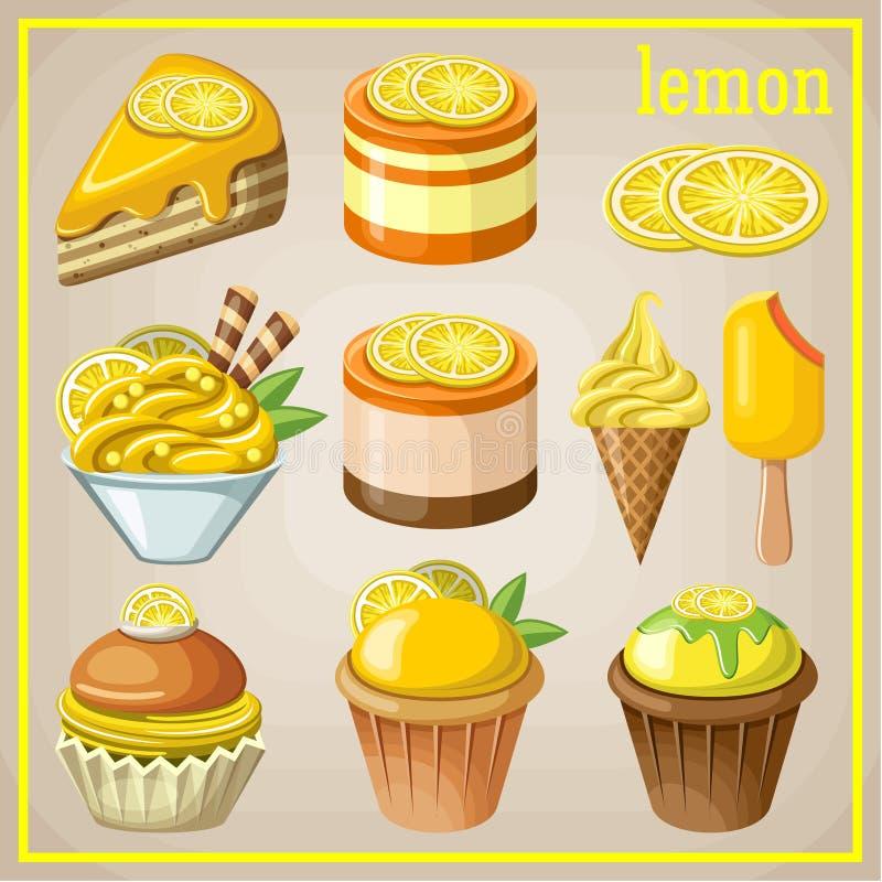Satz Bonbons mit Zitrone stock abbildung