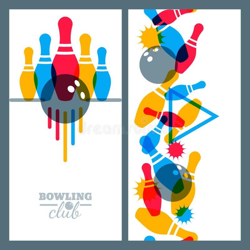 Satz Bowlingspielfahnen-, -plakat-, -flieger- oder -aufklebergestaltungselemente vektor abbildung