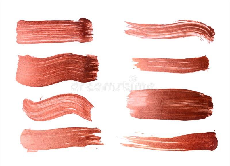 Satz Bronzebürstenanschläge der Acrylfarbe als Probe des Kunstproduktes stockfotografie
