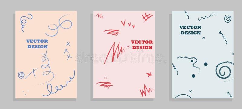 Satz Broschüren-Fliegerdesignvektor-Schablone geometrische Linien und Lichter extrahieren Hintergründe lizenzfreie abbildung