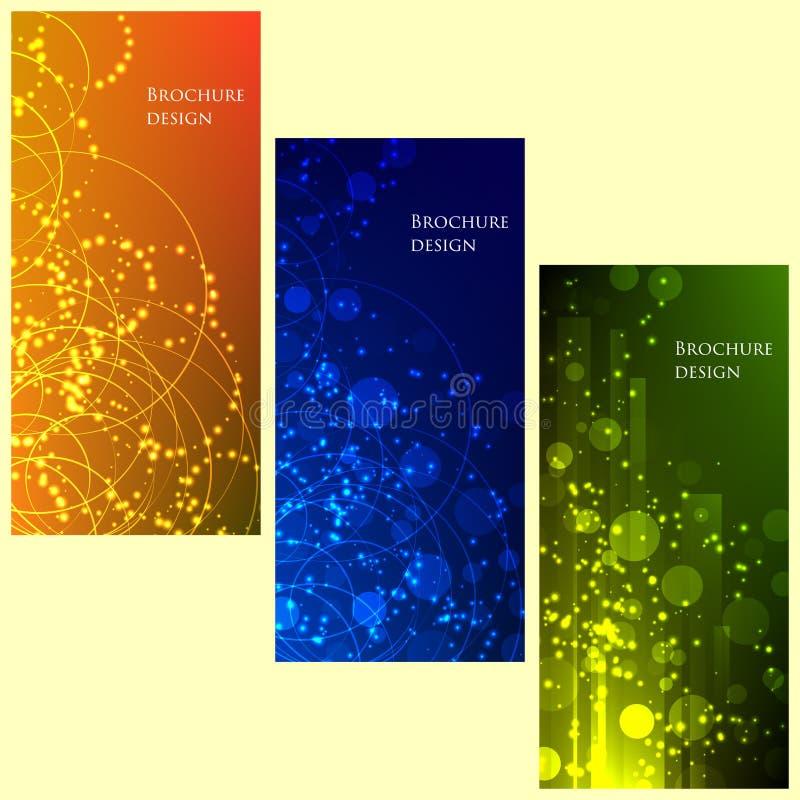 Satz Broschüren-Fliegerdesignvektor-Schablone geometrische Linien und Lichter extrahieren Hintergründe stock abbildung