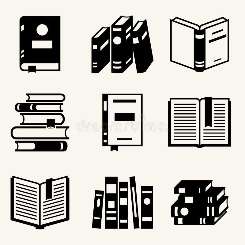 Satz Buchikonen in der flachen Designart lizenzfreie abbildung