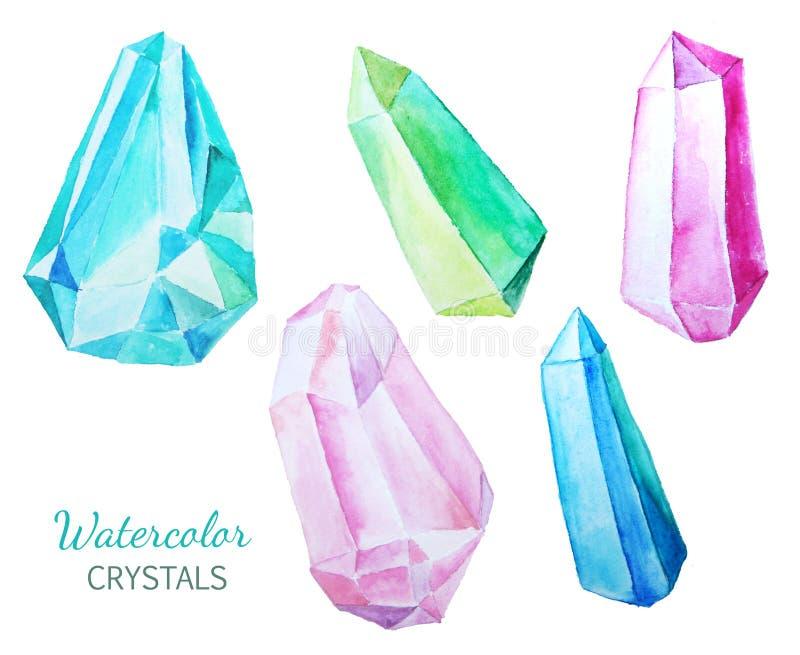 Satz bunte Edelsteine und Kristalle lizenzfreie abbildung