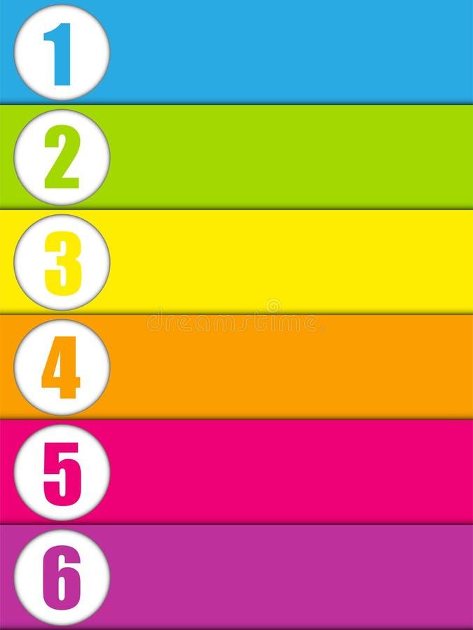 Satz bunte Fahnen mit Zahlen lizenzfreie abbildung