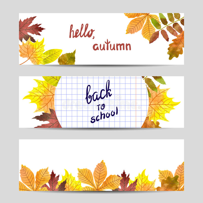 Satz bunte Herbstfahnen mit Aquarell verlässt vektor abbildung