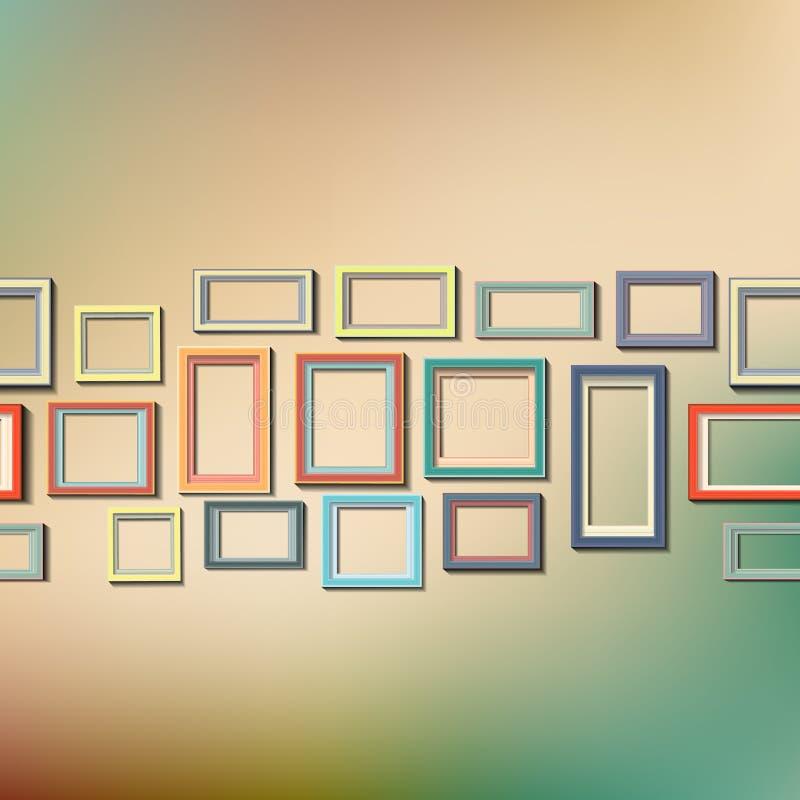 Satz bunte Holzrahmen vektor abbildung. Illustration von viereck ...