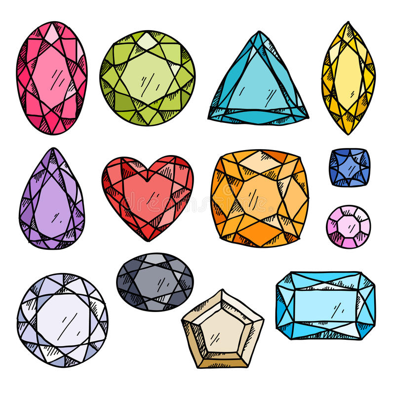 Satz bunte Juwelen vektor abbildung