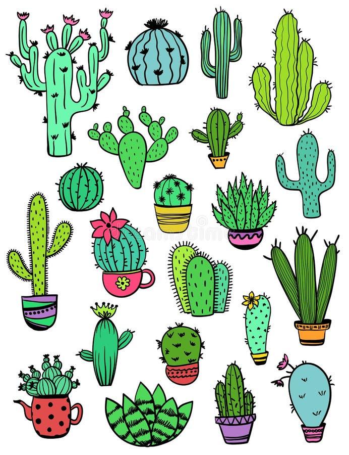 Satz bunte Kaktus-Ikonen stock abbildung