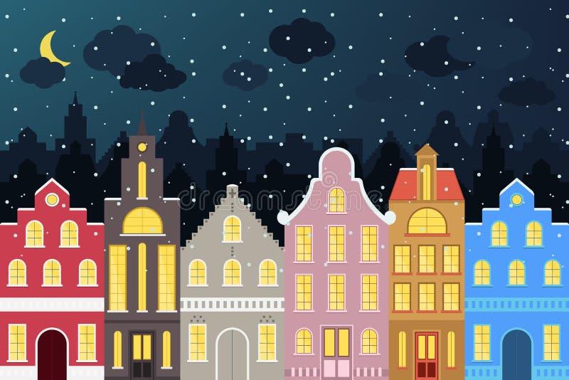 Satz bunte Karikaturgebäude der europäischen Art im Winter Lokalisierte Hand gezeichnete Häuser für Ihr Design lizenzfreie abbildung