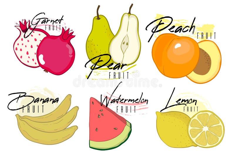 Satz bunte Karikaturvitamin-Fruchtikonen: Granat, Birne, Pfirsich, Banane, Zitrone, Wassermelone, Zitrone Vektorillustration, Iso stock abbildung
