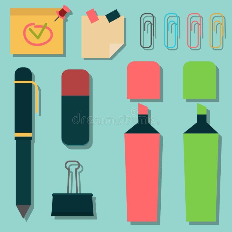 Satz bunte Leuchtmarker der Markierungsstifte, die grafisches KennzeichenBürozubehör zeichnen, vector Illustration stock abbildung