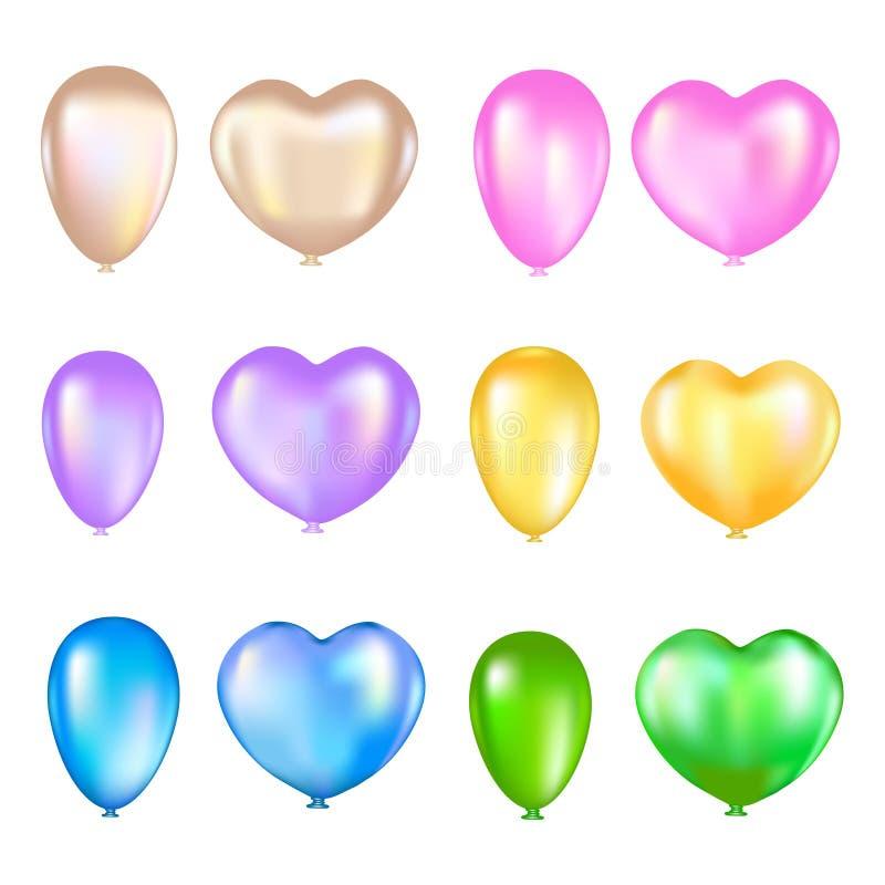 Satz bunte Luftballone auf einem weißen Hintergrund lizenzfreie abbildung