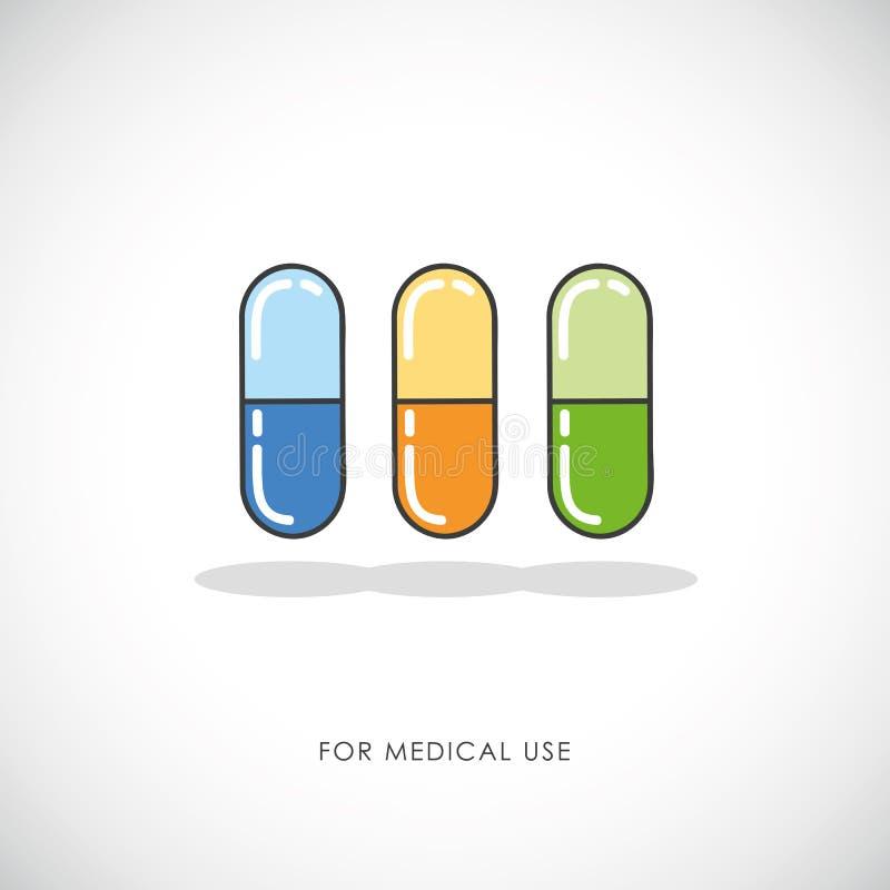 Satz bunte Pillen und Kapseln tablets medizinische Ikone lizenzfreie abbildung