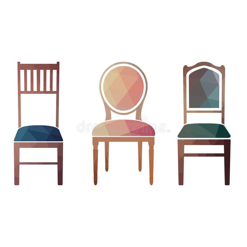 Satz bunte Retro- Stühle vektor abbildung