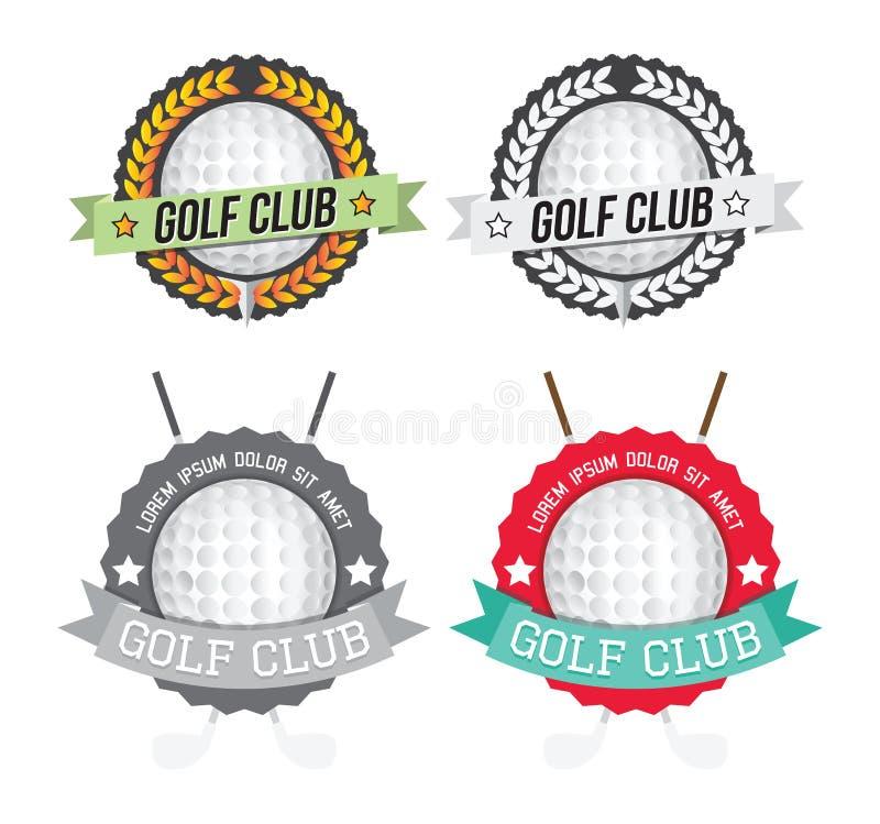 Satz bunte und einfarbige Golfclubausweise vektor abbildung