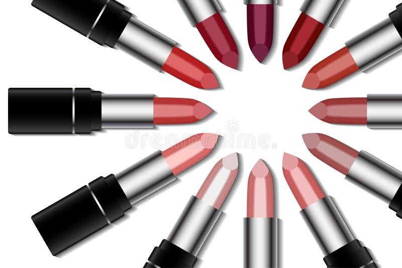 Satz bunter Lippenstift auf weißem Hintergrund Make-up und Modekonzept lizenzfreie abbildung
