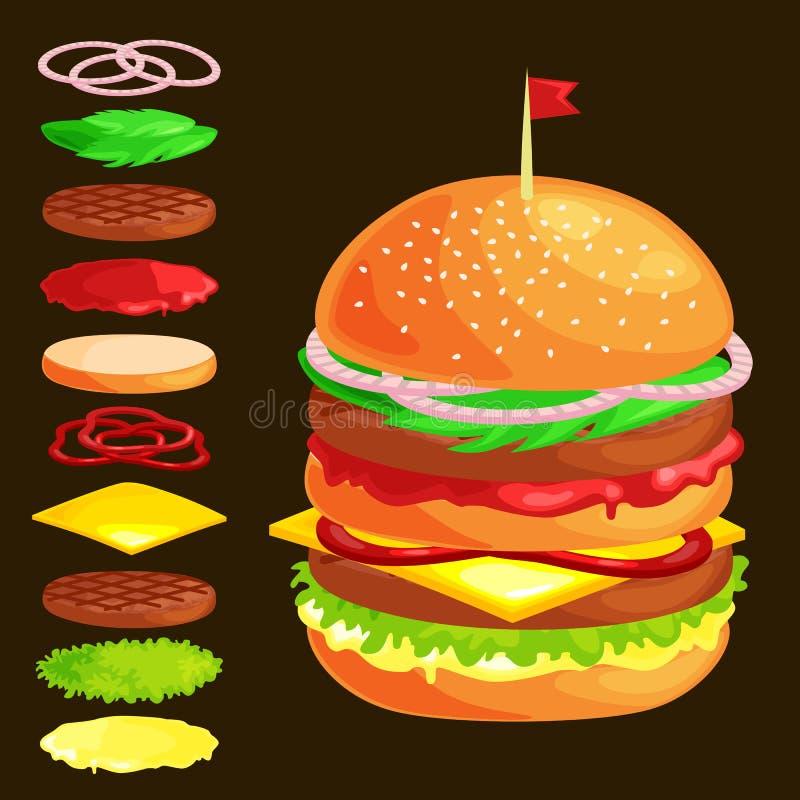 Satz Burger gegrilltes Rindfleischgemüse kleidete mit Soßenbrötchensnack, Menügrillfleisch des Schnellgerichtes des Hamburgers mi vektor abbildung