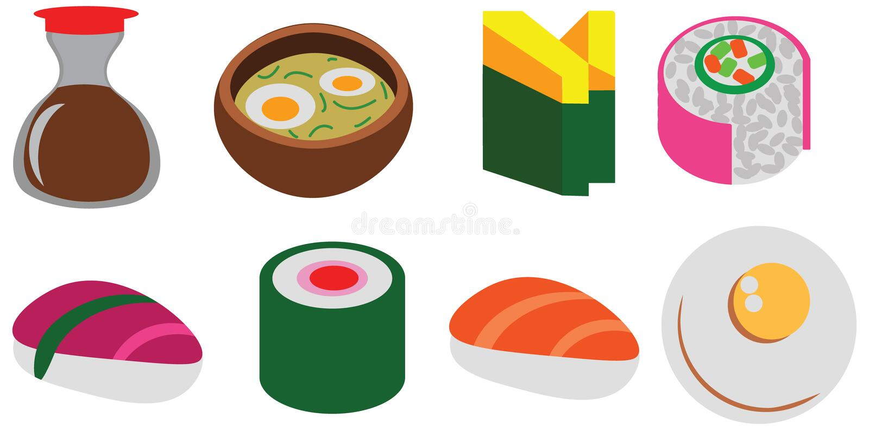 Satz-Cafégekritzel der Karikaturfarbflachen Sushi rollt gesetztes nette Ikone stock abbildung