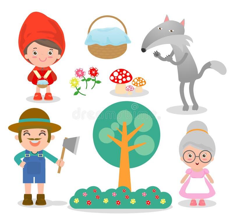 Satz Charaktere von den kleinen Rotkäppchenmärchen auf weißem Hintergrund, Vektor-Illustration lizenzfreie abbildung